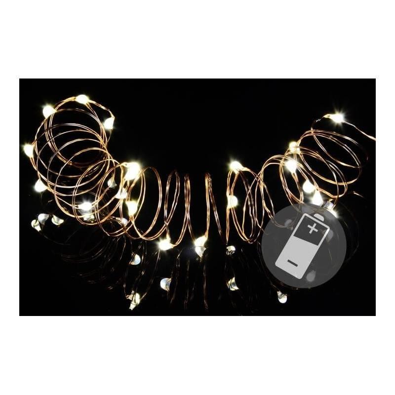 Lot de 4 guirlandes micro led cable métal 20 led blanc chaud 2M