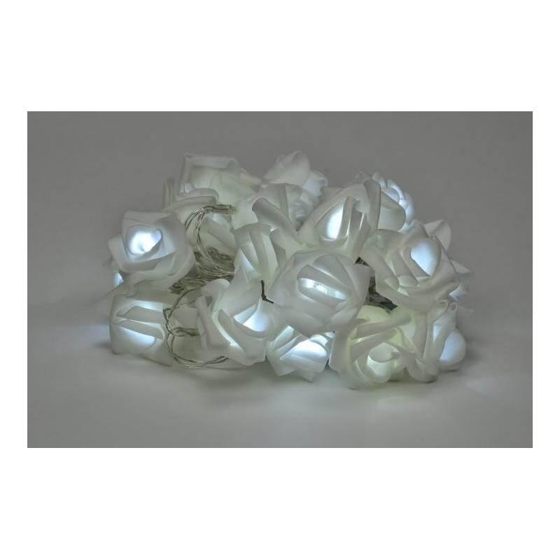 Guirlande led 20 Roses blanche déco blanc chaud ou blanc froid à piles