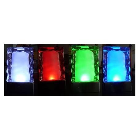 Lot de 2 centres de table iceberg  lumineux LED changement de couleur rechargeable télécommande en verre
