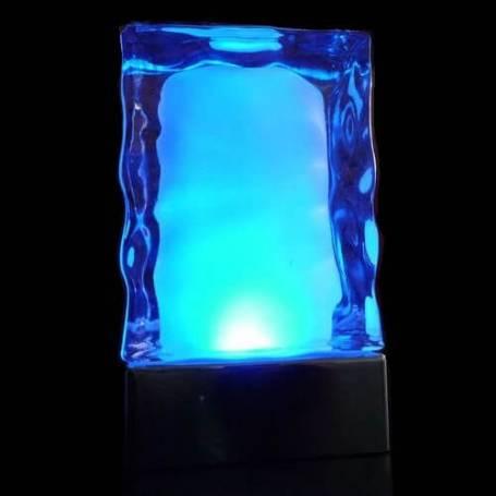Lot de 2 centres de table iceberg  lumineux LED changement de couleur rechargeable télécommande en verre professionnel