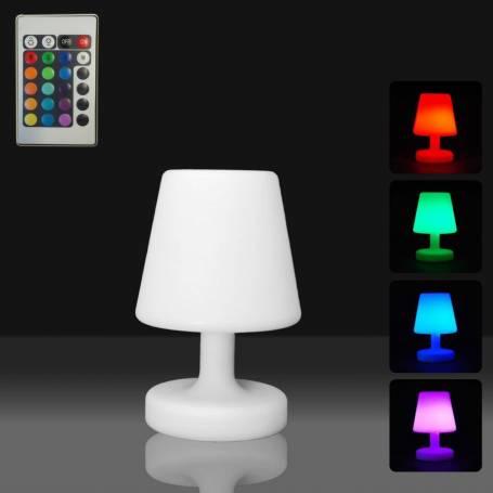 Centre de table lumineux LED lampe plastique blanc multicolore rechargeable télécommande