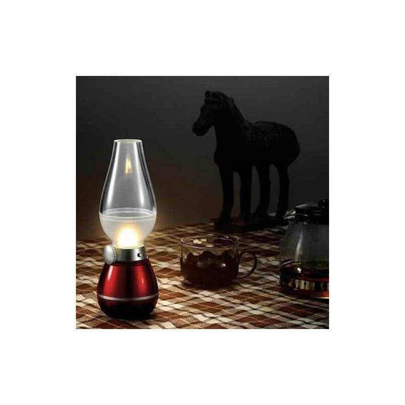centre de table lampe p trole led blanche rechargeable vintage rouge rubis ac27180. Black Bedroom Furniture Sets. Home Design Ideas