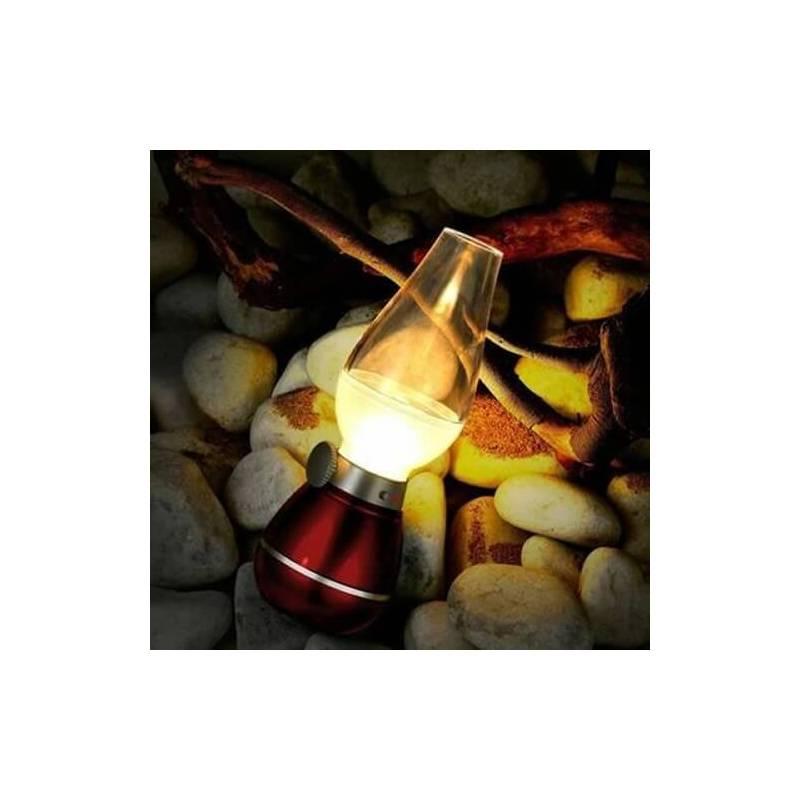 Centre de table lampe à pétrole LED blanche rechargeable vintage rouge rubis professionnel