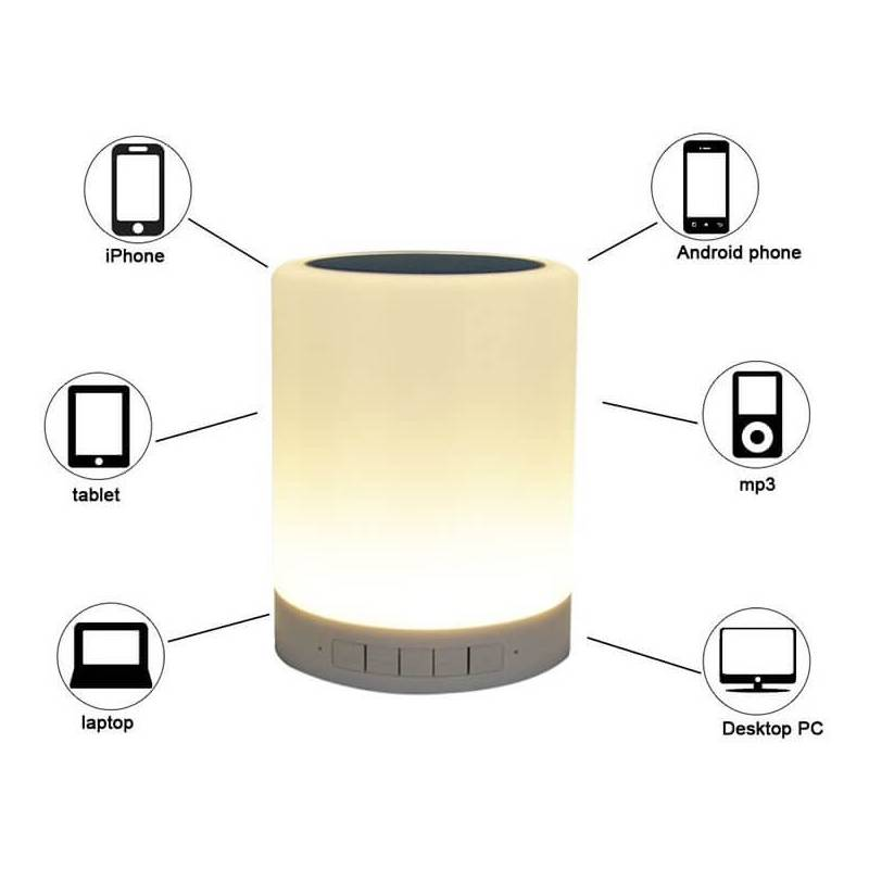 Centre de table cylindre lumineux LED enceinte Bluetooth multicolore rechargeable professionnel