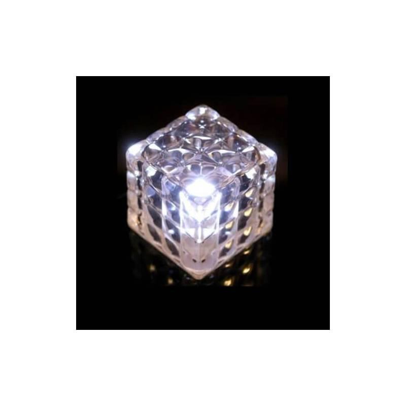 Mini cube lumineux led facette blanc à piles sans fil autonome professionnel