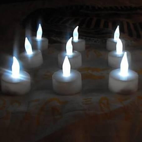 Set de 12 bougies rechargeable avec photophore blanc froid