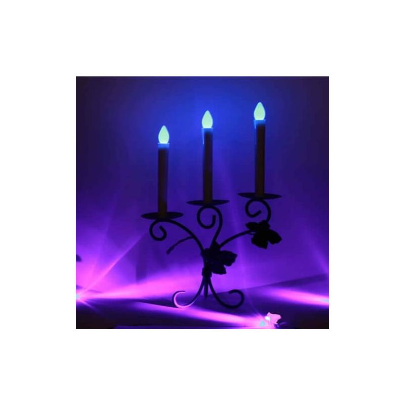 bougie chandelle cierge led bleue scintillant piles