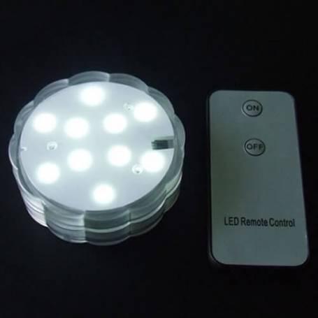Base lumineuse led submersible blanche piles télécommande