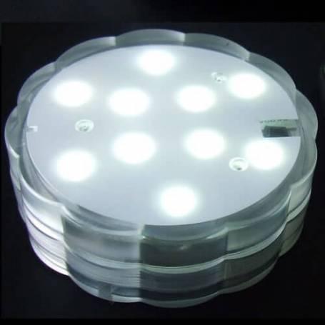 Base lumineuse led submersible blanche piles télécommande professionnel