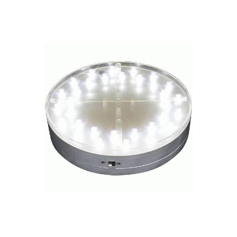Base lumineuse led ronde 15CM 31 led blanche à piles