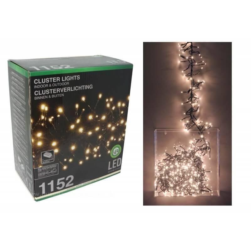 Guirlande lumineuse Grappe 1152 LED blanc chaud 7M animée