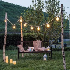 installation guirlande guinguette exterieur jardin terrasse mariage fete